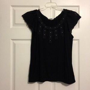 Black studded collar shirt 👚